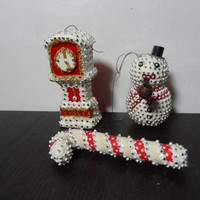 Vintage Ornate Red and White Sequin, Pin, and Felt Christmas Ornaments - Set of 3 - Clock, Snowman, and Candy Cane - Old Fashioned Christmas