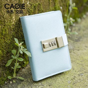 Cagie 2017 New School Hardcover Notebook Kawaii Cloth Cover With Lock Diary Sketchbook Planner Agenda Traveler Cute Journal
