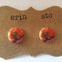 Handmade Plastic Fandom Earrings - Comic Pinup - Starfire