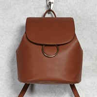 Faux Leather Top-Flap Backpack