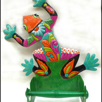 "Metal Frog Toilet Paper Holder - Bathroom Toilet Tissue Holder - Hand Painted Tropical Bathroom Decor - 14"" x 10"""