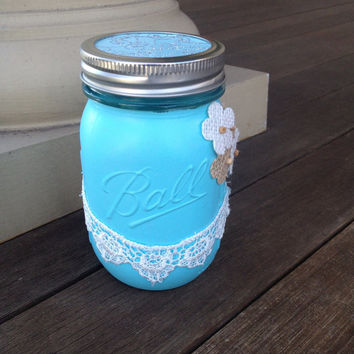 Tiffany Blue Painted Mason Jar with Burlap Flowers and Lace