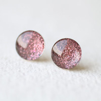 Plum Glitter Glass Stud Earrings