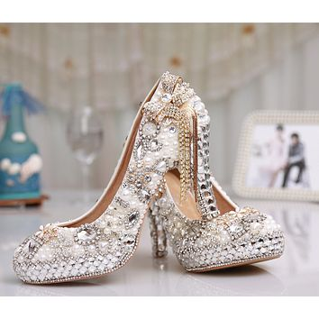 Shinning Beading Crystal Platform Bowknot Tassels Super High Stiletto Heels Bridal Shoes