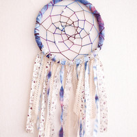 Large Dream Catcher - Purple Flowers - With Unique Floral Textiles and Laces - Boho Home Decor, Nursery Mobile