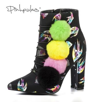 Pink Palms Women Shoes Animal Print Boots Colorful Pompon High Heels Ankle Snow Boots Pointed Toe Fashion Winter Boots