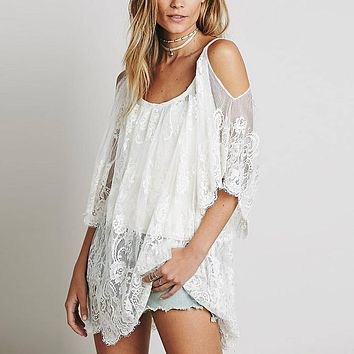 Hippie Women Beach Dress Sexy Strap Sheer Floral Lace Embroidered Crochet Summer Dresses Boho White Dress Vestidos