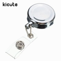 Kicute 1pc Silver Metal Retractable Pull Key Chain Reel ID Badge Lanyard Name Tag Card Badge Holder Reel Recoil Belt Clip