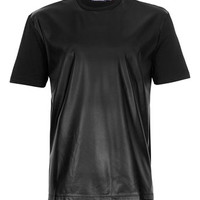 Black Leather Look Front T-Shirt - Men's T-shirts & Tanks  - Clothing