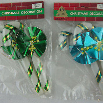 Retro Plastic Candy Cane Green & Blue with Metallic Flower Christmas Ornaments