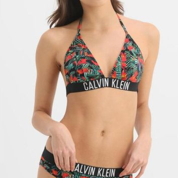 "Hot Sale ""Calvin Klein"" Stylish Ladies Vintage Flower Print Halter Two Piece Bikini Swimsuit Bathing"