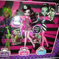 Monster High Dawn of the Dance Action Figure Doll 3Pack Clawdeen Wolf, Draculaura Frankie Stein