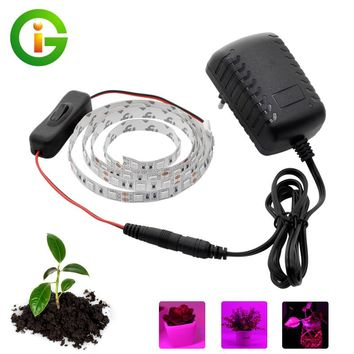 LED Grow Lights DC12V Growing LED Strip Plant Growth Light Set with Adapter and Switch
