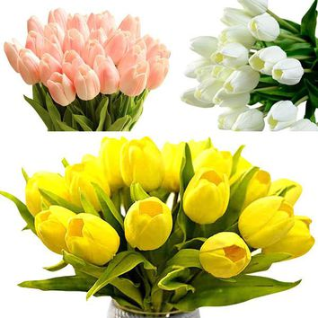 10 pcs/lot Hot Delightful Real Touch PU Tulips Flower Single Stem Bouquet Home Centerpiece Room Party Wedding Decor