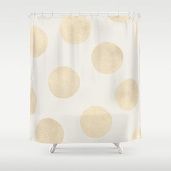 Gold Polka Dots Shower Curtain by Georgiana Paraschiv