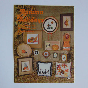 Katrina Designs AUTUMN HOLIDAYS Cross Stitch Featuring Fall, Halloween, and Thanksgiving