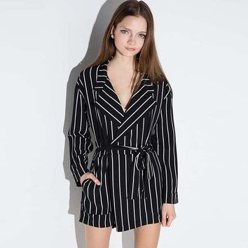 Fashion Women Romper Long Sleeve Female Drawstring Slim Playsuits Sweet Color Block Striped Ladies Rompers