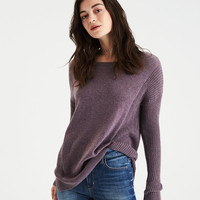AE Mixed Stitch Sweater, Purple