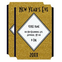 New Year's Eve Gold Glitter Ticket Card