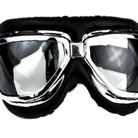 Clear Lens Classic Aviator Goggles Motorcycle Riding Glasses