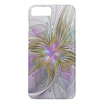 Floral Colorful Abstract Fractal With Pink & Gold iPhone 8 Plus/7 Plus Case