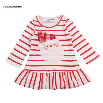 FOCUSNORM New Baby Girls Christmas Santa Claus Striped Little Girls Cute Casual Mini Dress Size 1-5T