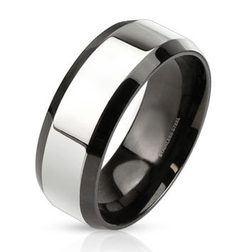Upscale– Glossy two tone black IP and silver stainless steel beveled edge men's ring