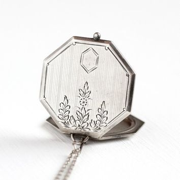 Art Deco Locket - Vintage 1920s Sterling Silver Octagonal Flower Pendant - Big Statement Geometric Floral 20s Photo Jewelry Signed W&H Co