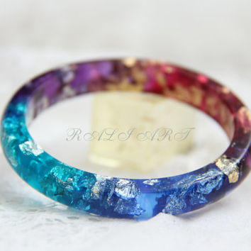 Resin bracelet, Small bracelet 55mm/2.17'' Bangle gold flakes, Resin bangle, bracelet of colored resin, gold flakes, silver flakes, glitter.