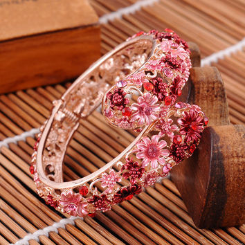 Hot Vintage Chinese Cloisonne Bracelets Crystal Rhinestone Flower Enamel Bangle Gold Plated Jewelry for Women