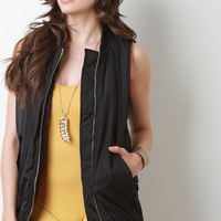 Puffy Sleeveless Zip-Up Vest