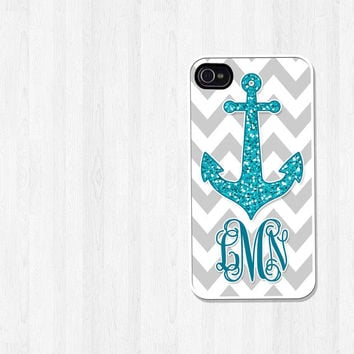 Personalized iPhone 4 Case, iPhone 5 Case, Nautical Glitter Teal Anchor Gray Chevron Monogram, iPhone Case, Phone Case, iPhone Cover (278)