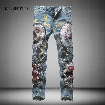 Winter fashion Hip hop men biker Ripped jeans pants Cotton printed full length casual harem Masculina Pantalones Vaqueros Hombre