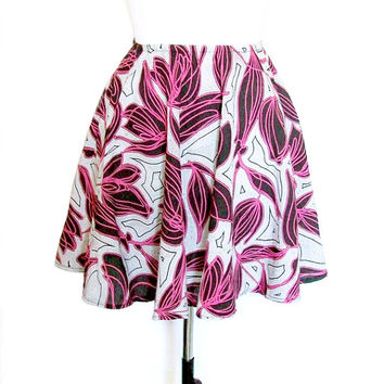 Handmade Black White & Fuchsia Pink Floral African Print Circle Flared Skirt  - available in 6 sizes