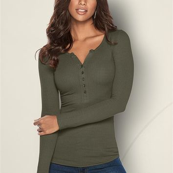 Ribbed Henley Top in Olive | VENUS