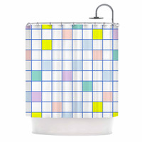 "Vasare Nar ""Pastel Windowpane Grid"" Multicolor White Shower Curtain"