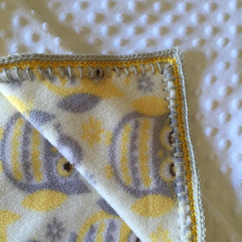 Yellow And Gray Owl Baby Blanket Double Thick Crochet Edge Minky Fleece Nursing Blanket