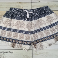 Boho Shorts Elephants Print Aztec Ethnic Bohemian Ikat  Boho Chic Fashion Hobo For Beach Summer Hippie Tribal Clothing Paisley Cute Women