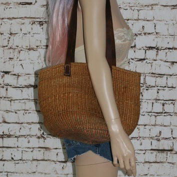 Sisal Market Bag Woven Tote Leather Straps Jute Purse Shoulder Boho Hipster festival 70s 80s Hippie Genuine Large Natural Brown Beige Tan
