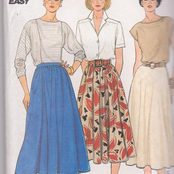 Vintage 1980s pattern for flared full or half circle skirt in knee or calf length misses size 12 14 16 Butterick 3067 UNCUT