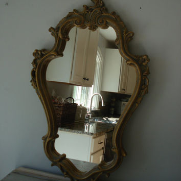 Large Ornate Mirror/large gold mirror/baroque style mirror/Paris apartment/Hollywood regency