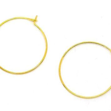 Gold plated hoop earring wires 25mm / 1 pair - 10 pairs