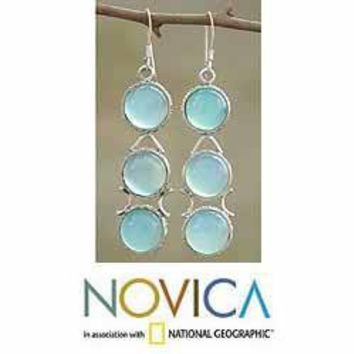 Sterling Silver 'Blue Dew' Blue Chalcedony Drop Earrings (India) | Overstock.com