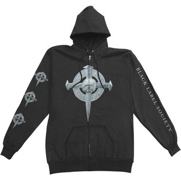 Black Label Society Men's  Nail Cross Zippered Hooded Sweatshirt Black