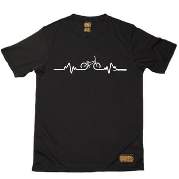 BMX Bycicle Pulse Pattern Printed T-Shirt - Men's Crew Neck Novelty T-Shirts