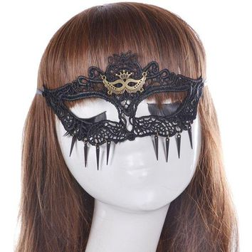 Crown Faux Lace Hair Accessory Party Mask