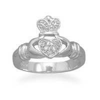 Rhodium Plated Cubic Zirconia Claddagh Ring