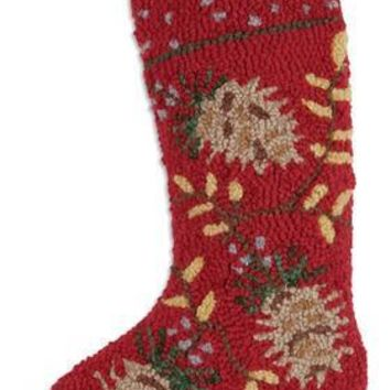 "17"" Red Christmas Stocking with Pinecones"
