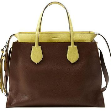 ESBON3F Gucci Brown and Yellow Ramble Leather Layered Tote Shoulder Bag