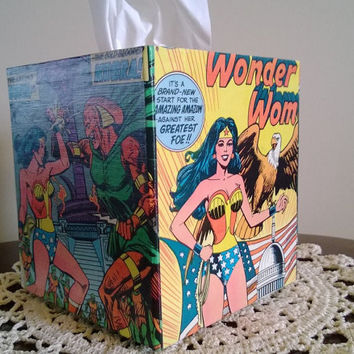 Wonder Woman superhero comic book decoupage tissue box cover